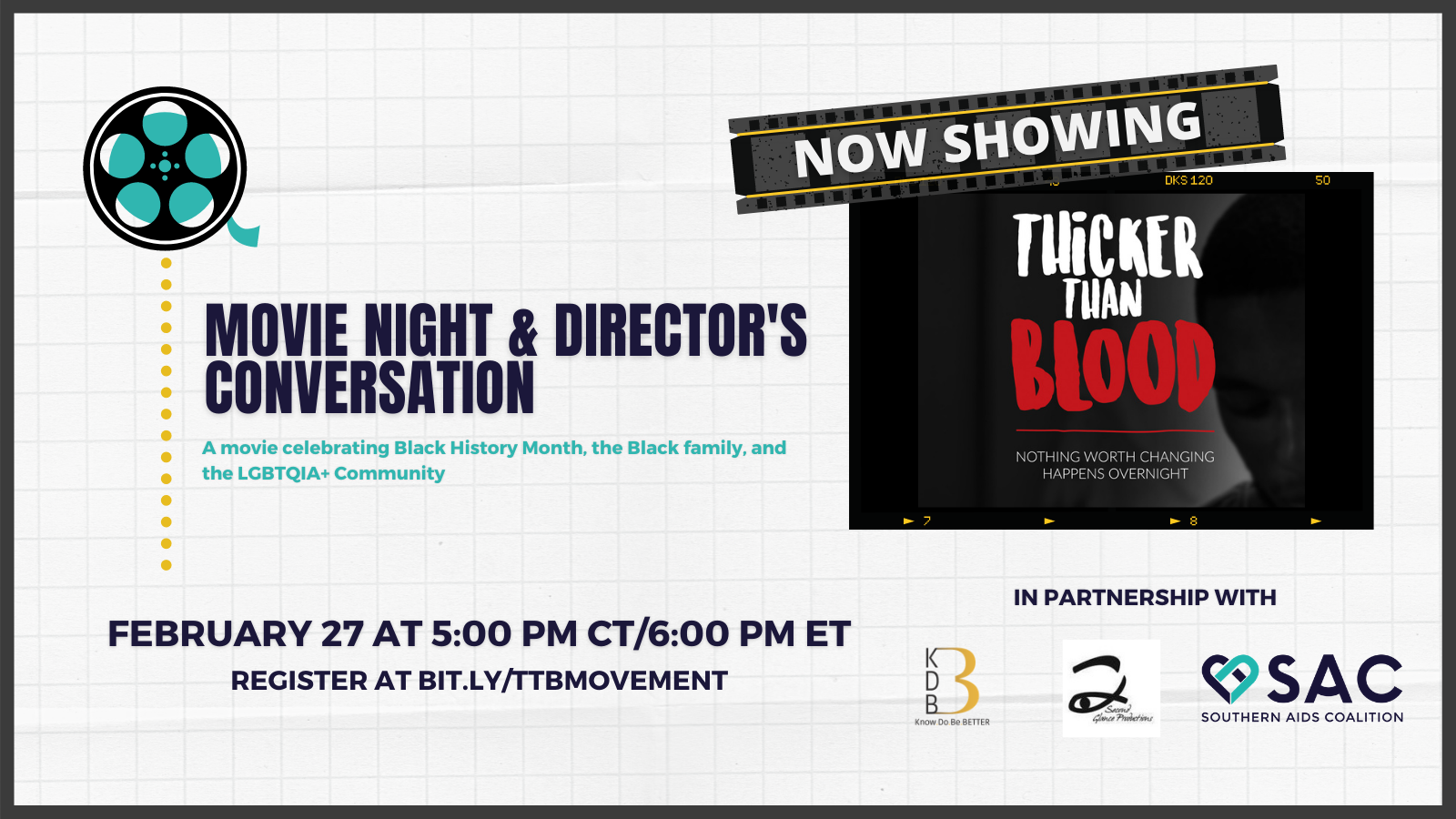 Movie Night and director's conversation flyer for thicker than blood screening on february twenty-seventh at five central and six eastern